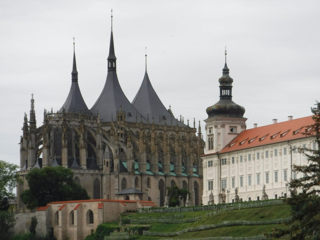 The church from afar, with the Jesuit college on the right