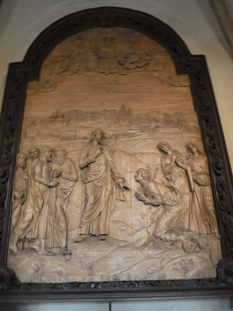 Jesus and apostles carved in wood