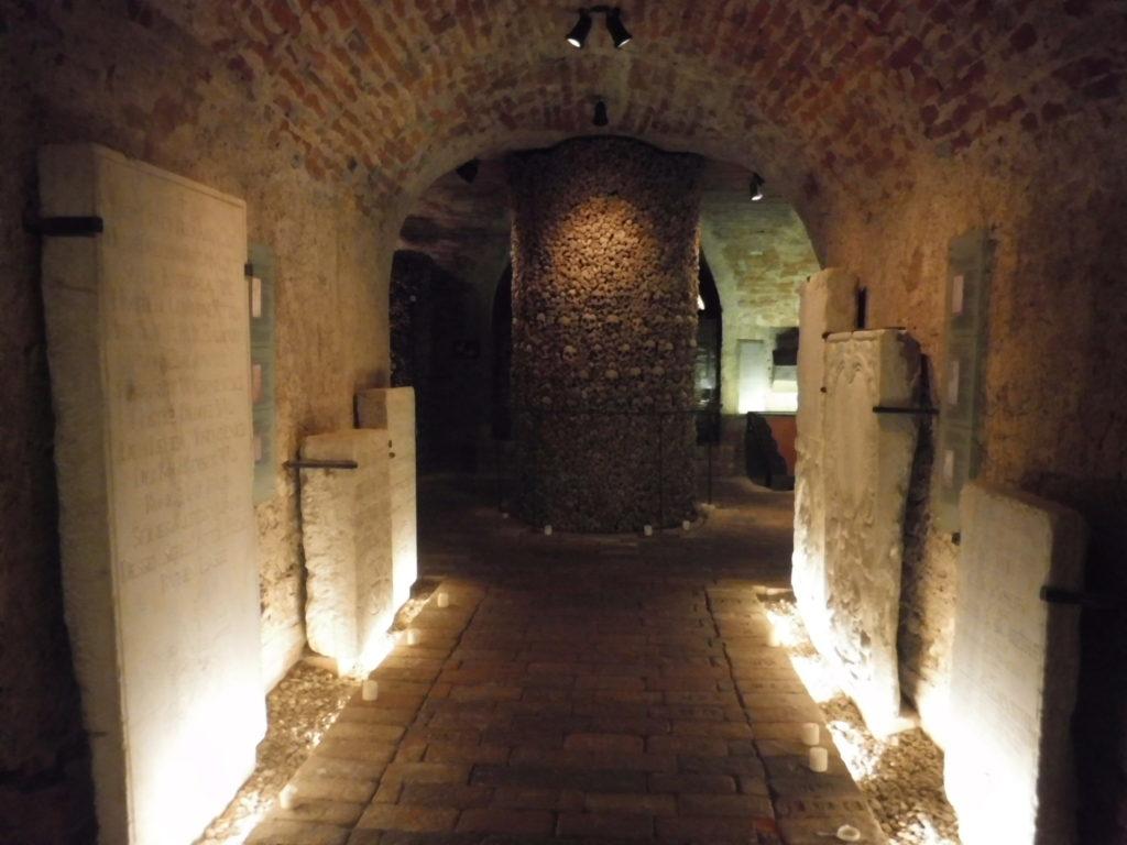 Mausoleum inscriptions line the hallway