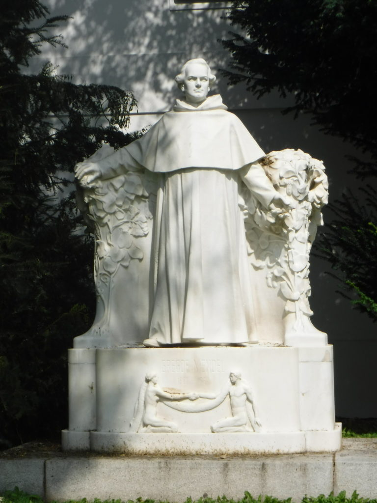 A statue commemorating Mendel