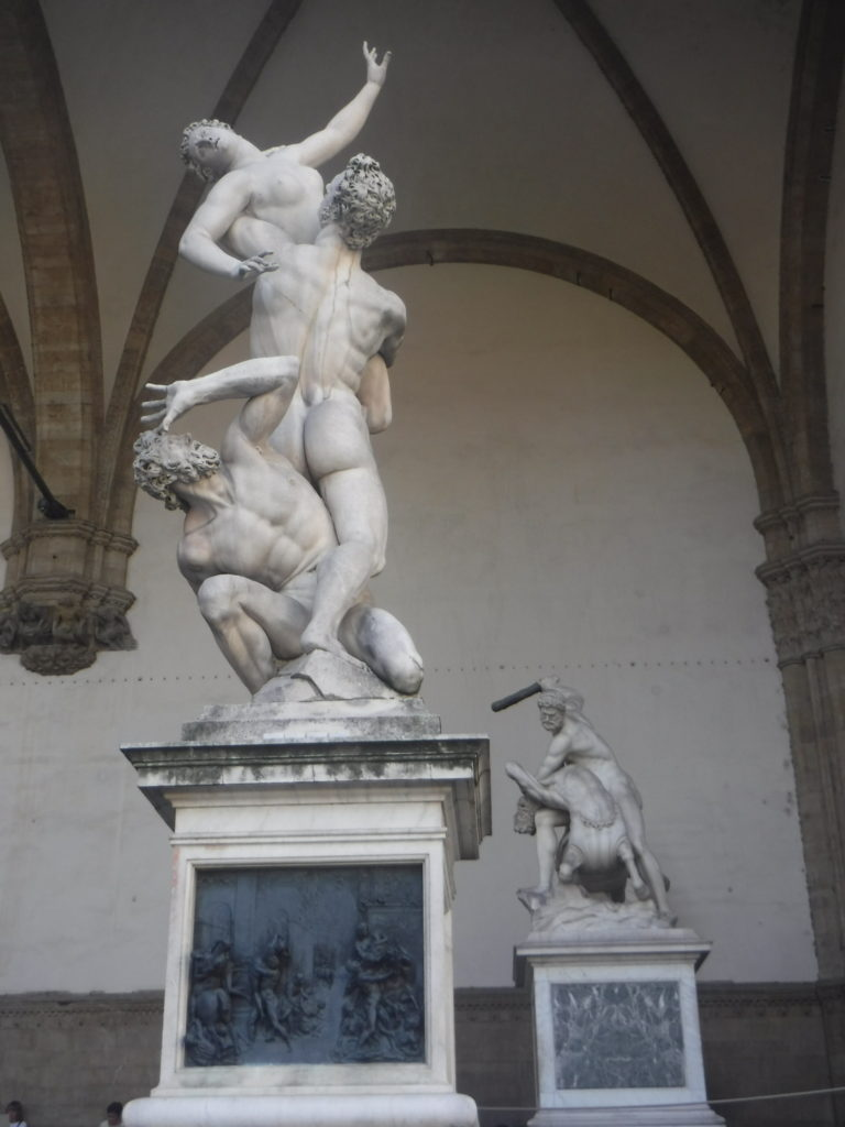 Outdoor statue exhibit near the Uffizi