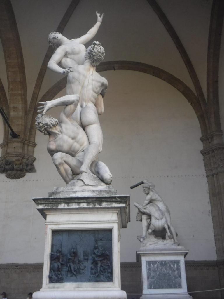Outdoor statue exhibit near the Uffizi